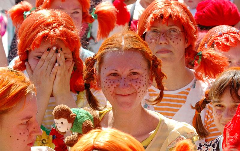 Pippi-Langstrumpf-Wettbewerb für das Guinness Buch der Rekorde in Fürstenwalde
