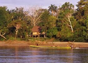 Pfahlhaus am Río Napo (Foto - Dr. Jutta Ulmer und Dr. Michael Wolfsteiner)