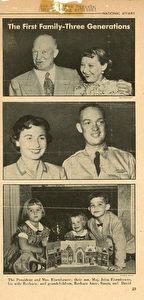 Die Enkel des U.S. Präsidenten Eisenhower nach dem 2. Weltkrieg mit dem ersten Adventskalender aus Germany. (