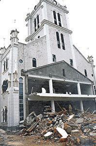 Die St. Josefskirche in Fuzhou nach ihrer Zerstörung im Jahre 2000. (