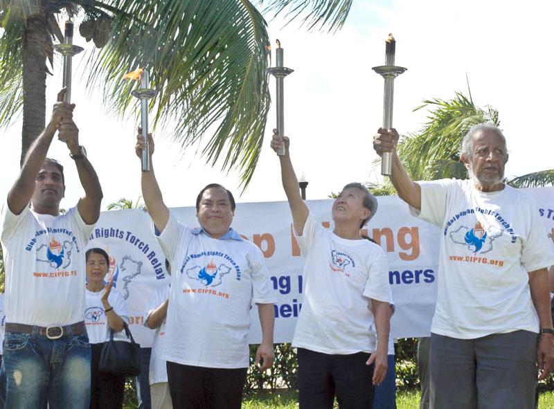 Fackellauf für Menschenrechte in Singapur angekommen