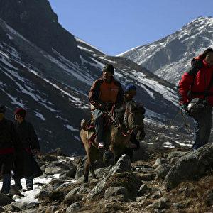 Rabgyal konnte wegen der Erfrierungen an den Zehen nicht gehen. Er wird mit einem Pferd vom Berg hinunter gebracht. (Christian Gatniejewski)