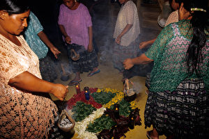 Maya-Zeremonie in Quehueche. (