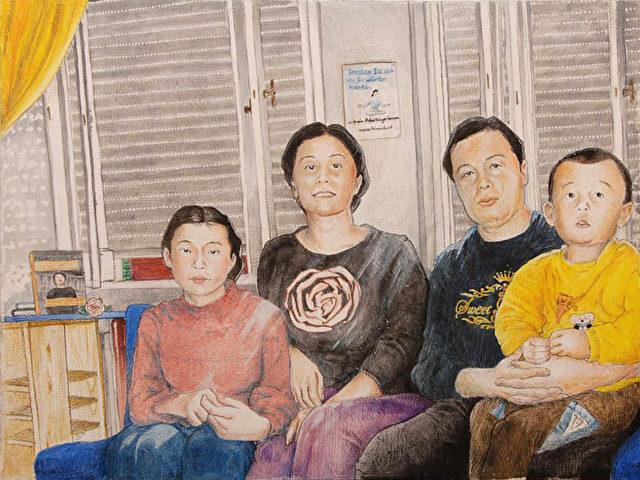 """""""Besuch von Gao"""": """"Gao Zhisheng ist einer der bekanntesten Menschenrechtsanwälte Chinas. Sein Buch """"Chinas Hoffnung"""" wurde kurz vor den Olympischen Spielen in Peking veröffentlicht. Während der Spiele wurde bekannt, dass er in Haft schwer gefoltert wurde. Um gegen seine Verhaftung zu protestieren, trat er in einen Hungerstreik, den er aufgeben musste, als man seiner Familie im Hausarrest den Zugang zu Nahrung und Wasser verwehrte. Er wurde von der IGFM (Internationale Gesellschaft für Menschenrechte) zum Gefangenen des Monats August 2008 gewählt. Schlierkamp: """"Ich malte ihn und seine Familie in meinem Wohnzimmer sitzend, meinem Wunsch Ausdruck gebend ihn aus dieser Situation befreien zu wollen. Dieses Bild habe ich während der Olympischen Spiele gemalt""""."""
