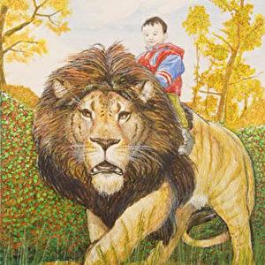 """""""Mut"""": """"Zu malen gab mir die Möglichkeit die Auswahl möglicher und empfehlenswerter Tiere, wie Pferd- und Eselchen um einige interessantere zu erweitern (wie Riesenschildkröten und Löwen...). Eine gute Möglichkeit, um Kindern Prinzipien wie Geduld und Mut in einer spielerischen und kindgerechten Art und Weise näher zu bringen."""""""