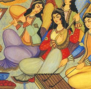 Wandmalerei: Persische Musikaufführung aus dem 17. Jahrhundert. (Mehdi Hosseini)