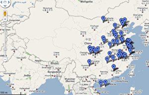 Hunderte von Orten gibt es in China, wo aufgrund der schwerwiegenden Umweltverschmutzung durch lokale Industrie und Fabriken viele Menschen an Krebs in Lungen, Magen oder Darm und andere Organen erkranken und sterben. (google/maps)