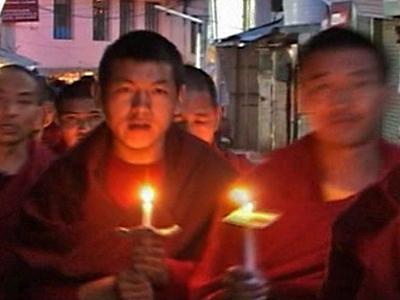 Tibetan Exiles Hold Vigil in Dharamsala, India