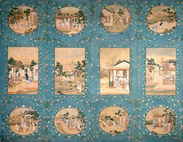 Vier Bahnen einer Bildtapete. China, um 1788.