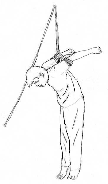 """""""Einmal musste ich 43 Tage pausenlos Handschellen tragen... mit beiden Händen auf den Rücken gefesselt, an eine Metalltür gehängt und geschlagen"""", so Frau Liu. Bild: Minghui"""