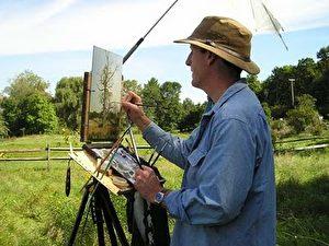 Der Künstler bei der Arbeit. James Gurney ist nicht nur durch seine Malereien gefragt, sondern zählt auch zu den derzeit bedeutensten realistisch arbeitenden amerikanischen Landschaftsmalern.