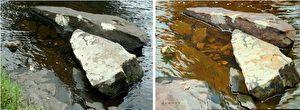 Der direkte Vergleich zeigt den Unterschied zwischen der Abbildung durch die Linse der Kamera (links) und der Beobachtung durch den realistisch malenden Künstler (rechts).