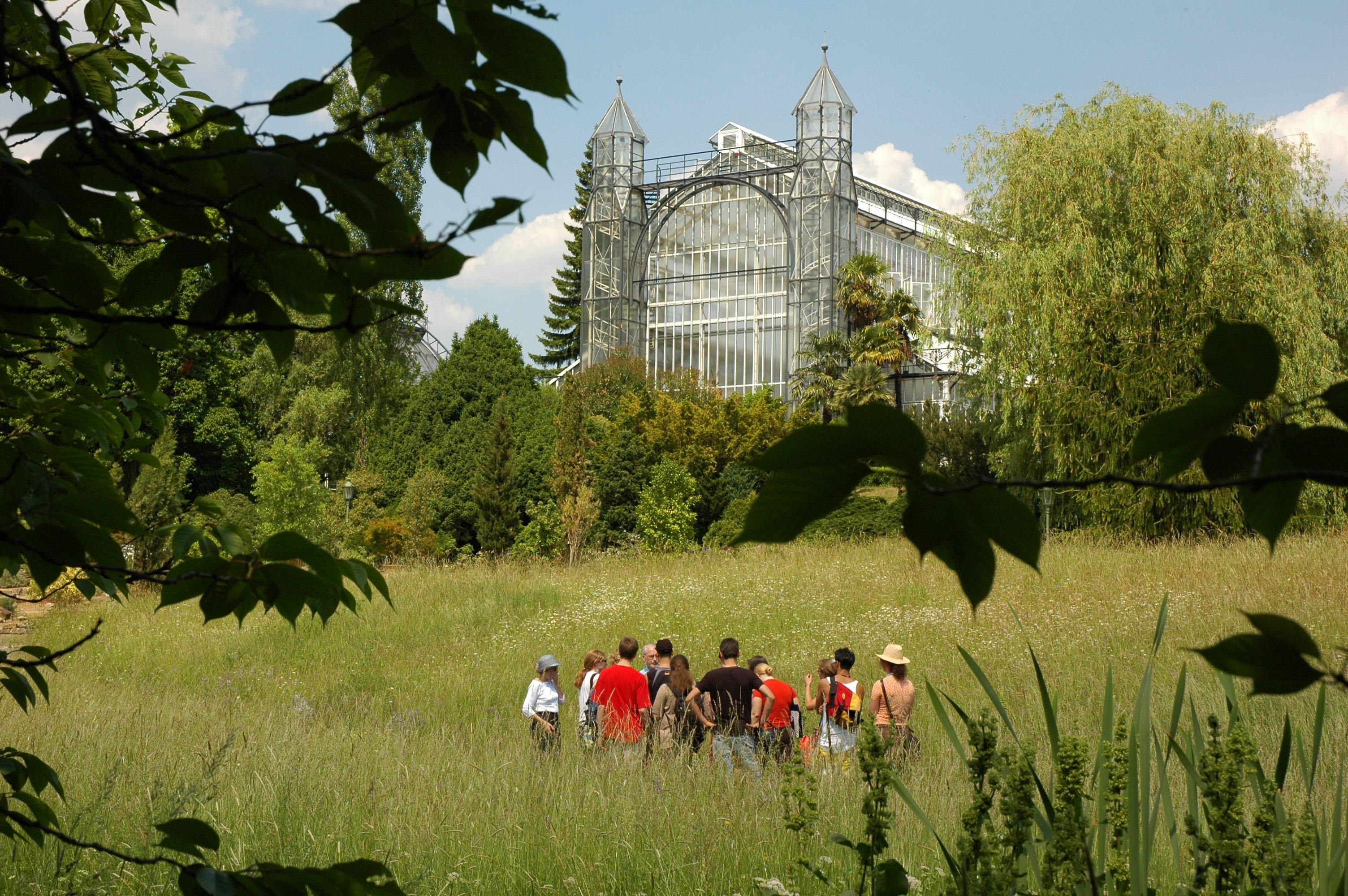Führung Im Botanischen Garten Im Hintergrund Mittelmeergewächshaus