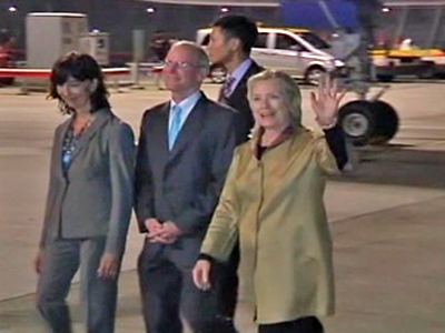 Hillary Clinton Touches Down in Hong Kong