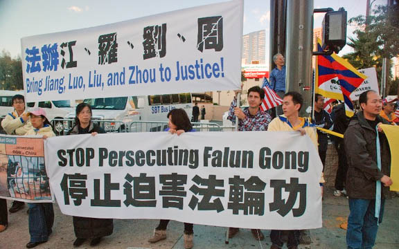 Behörden von LA behindern Demonstranten und Presse bei Besuch aus China