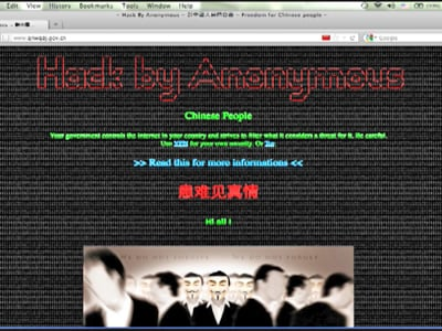 "Chinesische Hacker-Gruppe ""Anonymous"" hackt Chinas Regierungswebsites."