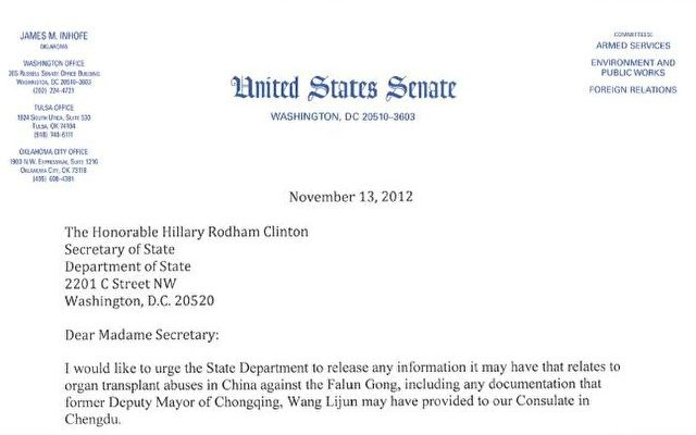 Brief von US-Senator James M. Inhofe über Organraub in China.  Foto: Screenshot/rls