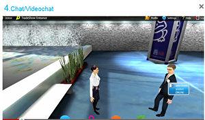 Wie man andere auf der virtuellen Möbel-Messe anspricht? Mit Doppelklick auf die virtuelle Person. - Sollte es auf echten Messen irgendwann üblich werden, sich vor der Begrüßung anzustubsen oder auf die Schulter zu klopfen, dann wurde dieser Trend auf virtuellen Messen geboren.  Bild: Screenshot/sol