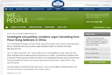 Auf der Webseite des Weißen Hauses steht eine Petition zum Thema Organraub an Falun Gong-Praktizierenden in China. Foto: Screenshot / yh