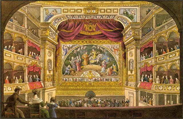 Innenansicht des ersten Dresdner Hoftheaters um 1860. Foto: Semperoper