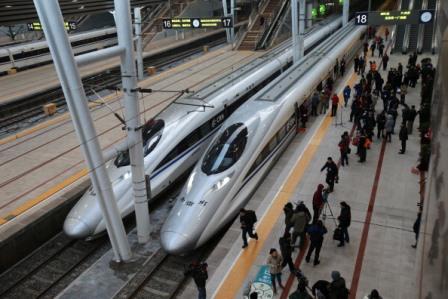 Eröffnung der Hochgeschwindigkeitstrasse von Peking nach Guangzhou am 26. Dezember 2012.  Foto: AFP/Getty Images