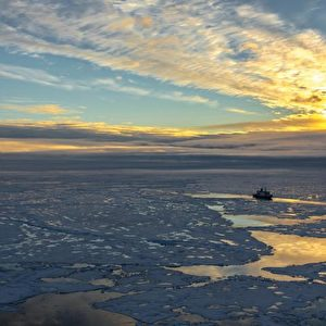 Polarstern in der Zentralarktis (Position ca. 83° N, 130° O): Die AWI-Forscher haben gemessen, dass überwiegend einjähriges dünnes Meereis die Arktis im Sommer 2012 dominiert. Die Eisdecke ist von offenen Wasserflächen durchzogen, auf dem Meereis finden sich viele Schmelztümpel. Foto: Stefan Hendricks, Alfred-Wegener-Institut