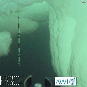 Untereis-Ansicht stark deformierten Meereises. Es ist auch eine Orientierungsmarkierung angebracht. Der Marker (schwarz-weiß etwa in der Bildmitte) ist ein Meter lang. Foto: ROV Ronia, Meereisphysik, Alfred-Wegener-Institut