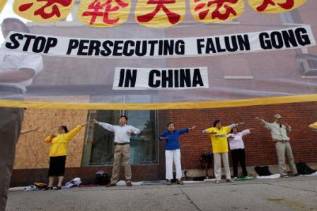 Falun Gong ist eine friedliche buddhistische Kultivierungsschule, die seit dem Jahr 1999 vom Regime der KPCh verfolgt wird. Foto: Scott Olson/Getty Images