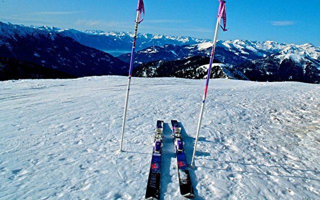 Skier auf den Nockbergen bei Bad Kleinkirchheim in Kärnten warten auf ihren Besitzer. Foto: Elke Backert