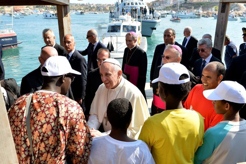 Papst Franziskus I. in Lampedusa