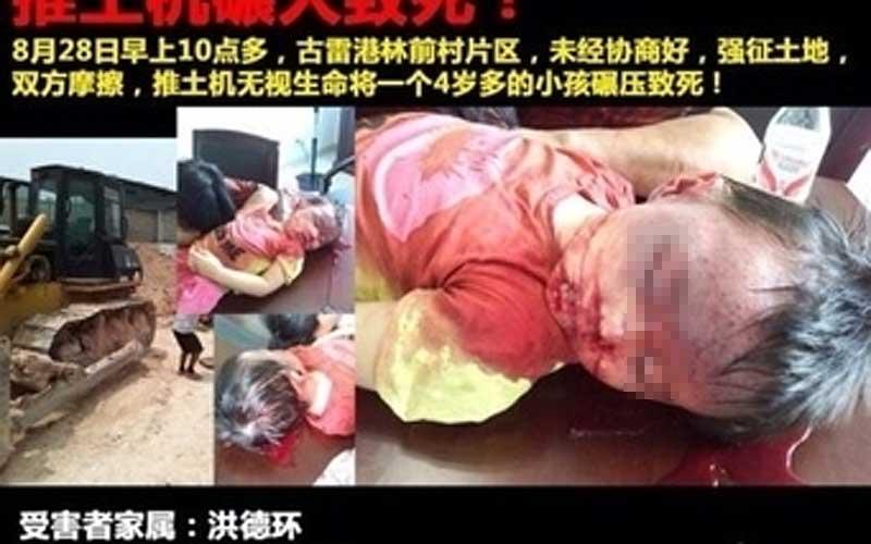 China: Kleinkind von Bulldozer zermalmt