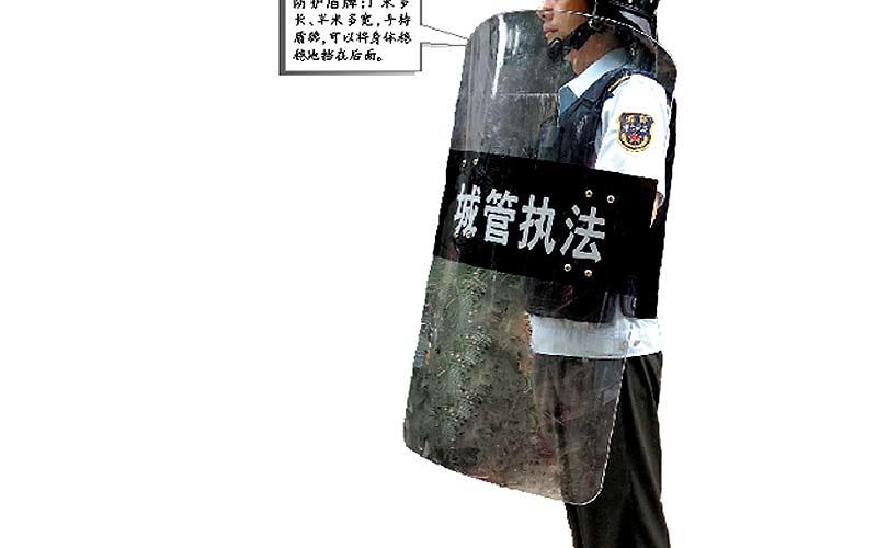 China: Verhasste Hilfspolizisten mit neuer Ausrüstung