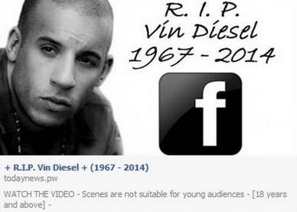 """Vin Diesel gestorben? – """"RIP"""" Facebook Post"""