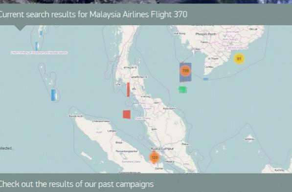 """Verschollener Flug MH 370: """"Tomnod"""" erweitert die Reichweite der Karte"""