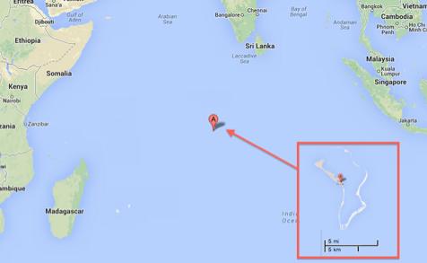Die Lage des Atoll Diego Garcia