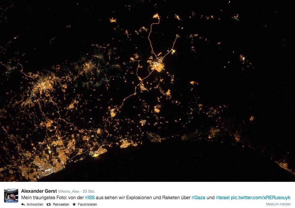 ISS: Astronaut twittert Weltraumfoto vom Krieg in Gaza und Israel