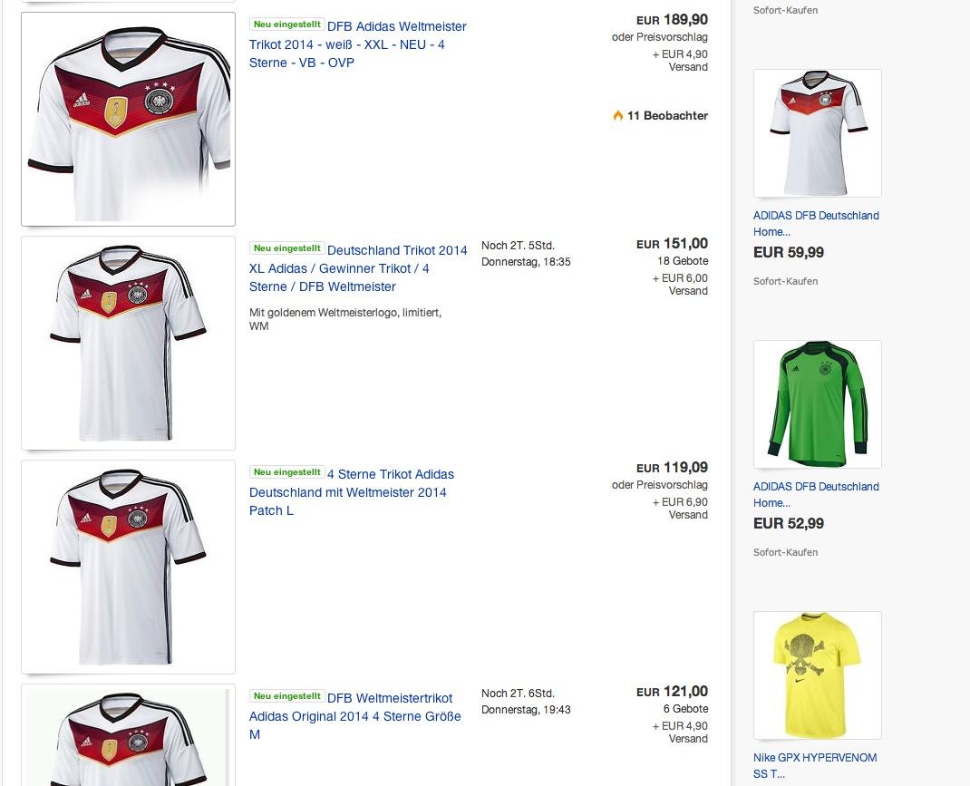 Adidas 4-Sterne-Trikot erreicht Rekordpreis auf Ebay