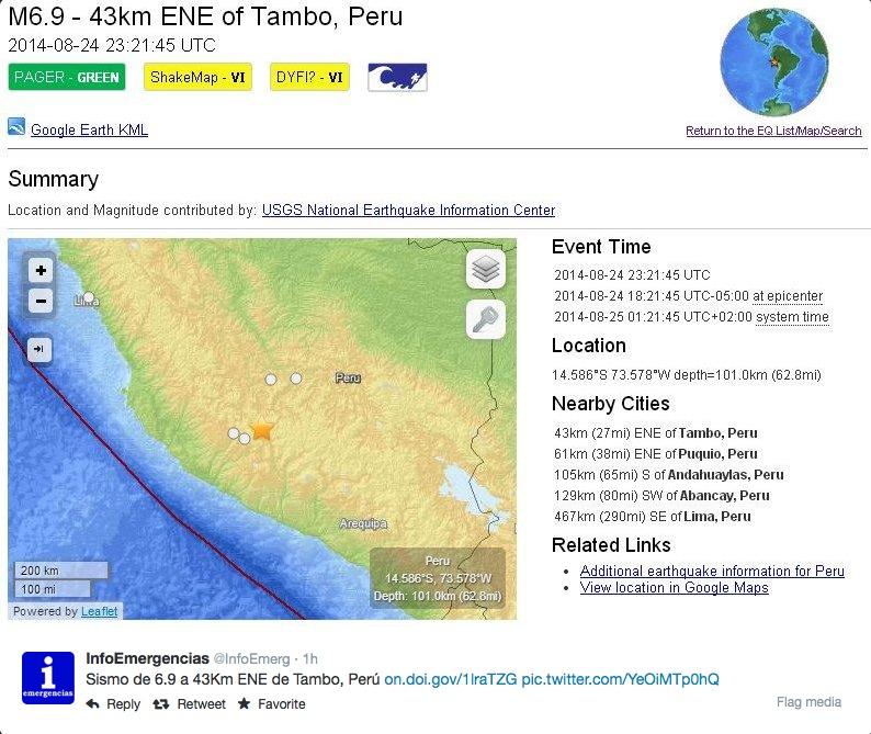 Erdbeben im Peru, Kalifornien und Chile: Westküste Amerikas wurde erneut von Beben erschüttert (Live Video)