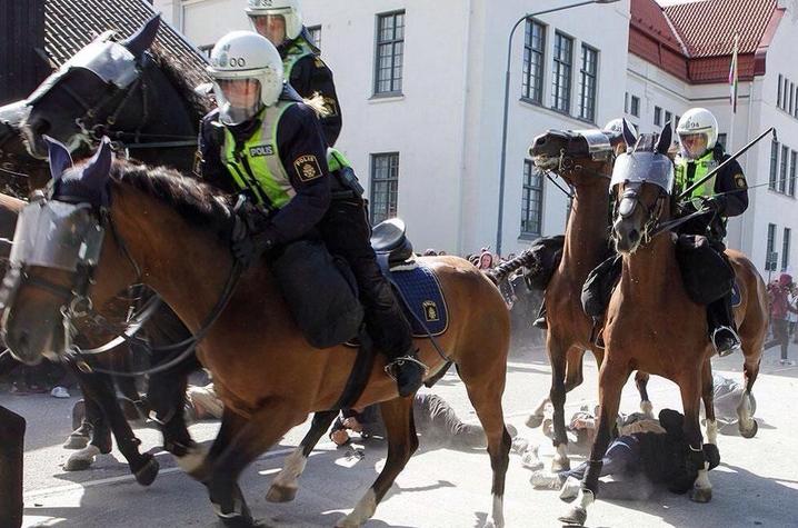 Schwedische Polizeigewalt: Demonstranten bei Anti-Nazi-Kundgebung von Pferden zertrampelt (Video+Tweets)
