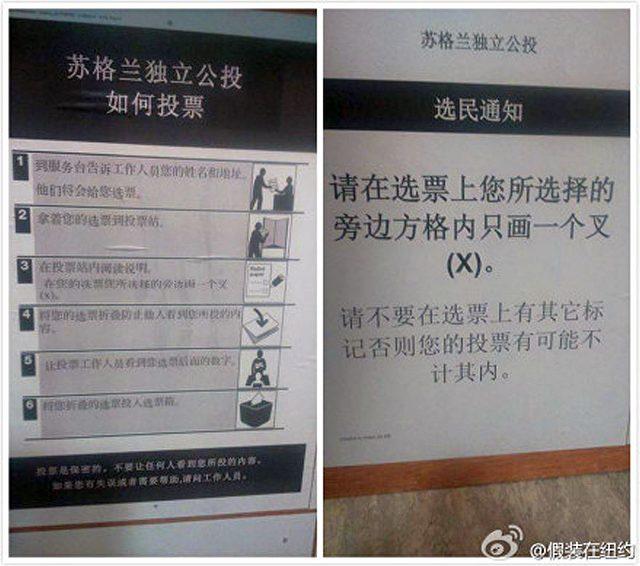 In Schottland ausgegebener Stimmzettel für chinesisch-sprachiche Bürger