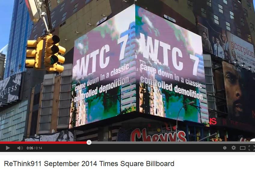 11. September: Kritisches 9/11 Video läuft auf Reklamefläche am Times Square