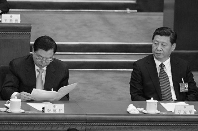 """Zhang (li.) und Xi (re.) Erz-Rivalen in der Kommunistischen Partei Chinas, bei einer Sitzung im """"Volkskongress"""" am am 10. März 2014."""