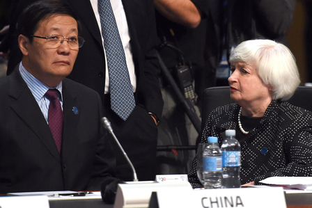 Angespanntes Verhältnis: Chinas Finanzminister Lou Jiwei und FED Chefin Janet Yellen. Foto: WILLIAM WEST / AFP / Getty Images