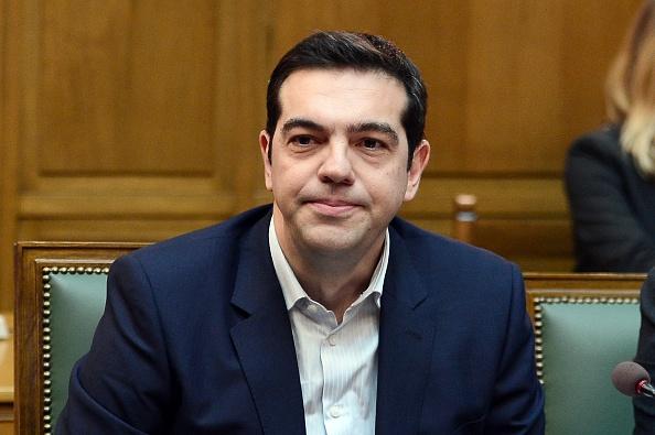 Griechenlands neuer Ministerpräsident Alexis Tsipras am 28. 1. bei der ersten Kabinettssitzung  Foto: LOUISA GOULIAMAKI/AFP/Getty Images
