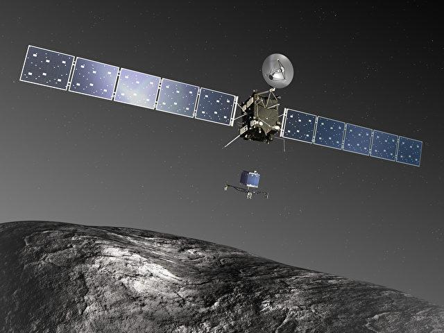 Eine Darstellung der Sonde Rosetta über dem zu untersuchenden Komet 67P/Churyumov-Gerasimenko