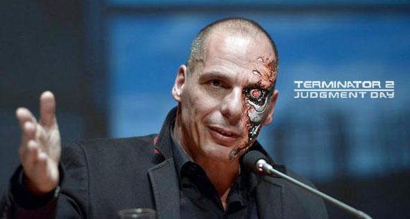 Der griechische Finanzminister Yanis Varoufakis als Terminator