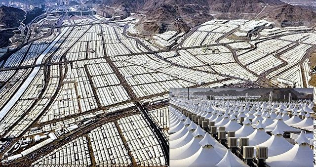 20 Quadratkilometer ist die klimatisierte Zeltstadt im im Tal Mina bei Mekka groß. Foto: YouTube Screenshot