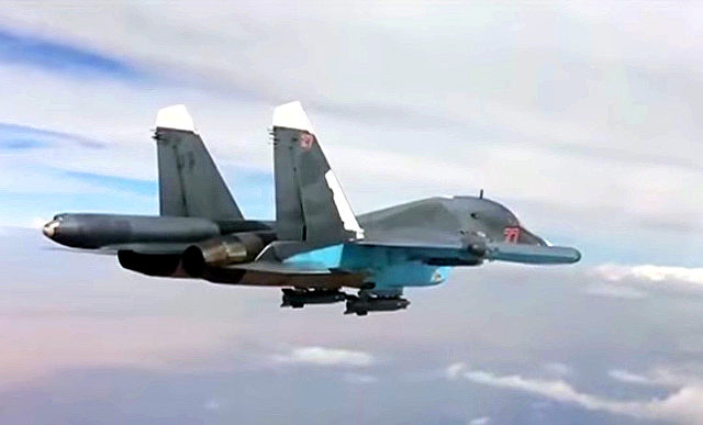Eine russische Su 34 in der Luft über Syrien. Foto: YouTube / military world