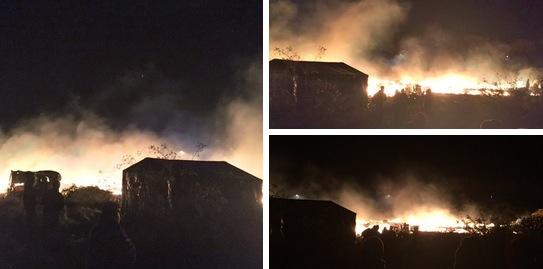 Ein Großfeuer vernichtete Freitagnacht einen Teil von Frankreichs berüchtigstem Flüchtlingscamp. Foto: Screenshot Twitter / Tomasz Sekielski