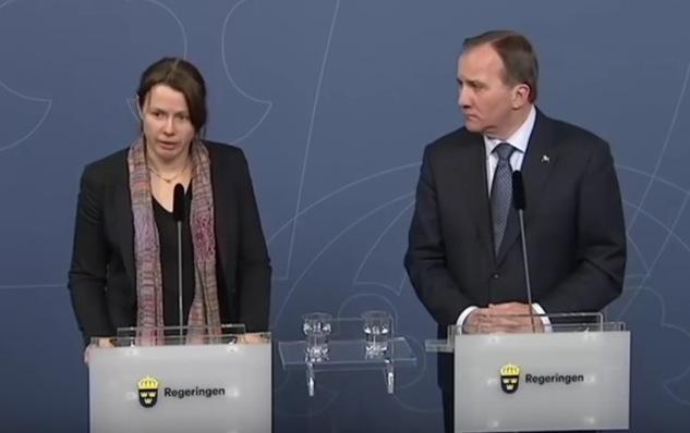 Schwedens ratlose Regierung: Åsa Romson (li.) brach in Tränen aus, als sie Asyrechts-Änderungen bekannt gab. Foto: Screenshot Youtube